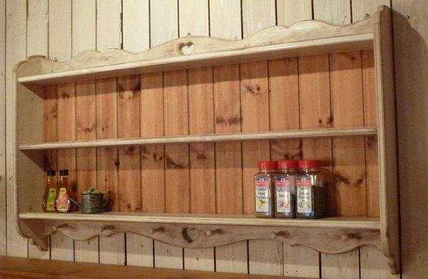 画像1: カントリー家具 アンティーク風2段シェルフ (1)