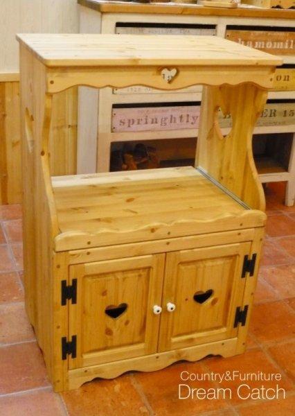 画像1: カントリー家具 ハートのレンジ台 (1)