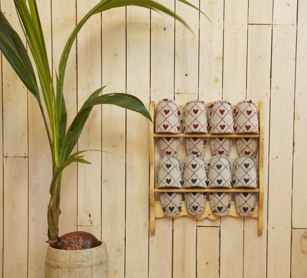 画像1: カントリー家具 スリッパラック壁掛け (1)