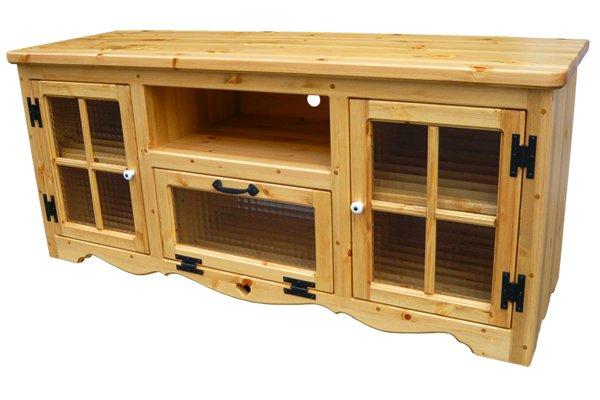 画像1: カントリー家具 テレビボード格子のチェッカーガラス扉W1200 (1)