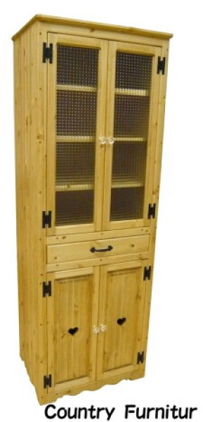 画像1: カントリー家具 カップボードスリムW600 (1)