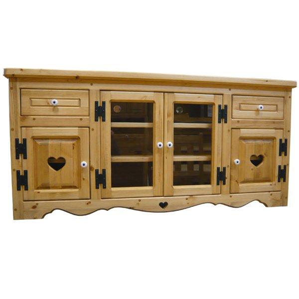 画像1: カントリー家具 テレビボード引き出し付きガラス扉W1200 (1)