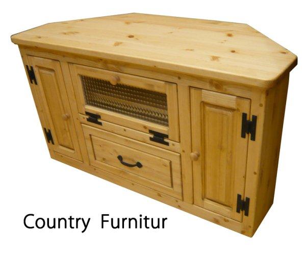 画像1: カントリー家具 コーナーテレビボード引き出し付チェッカーガラスW1000 (1)