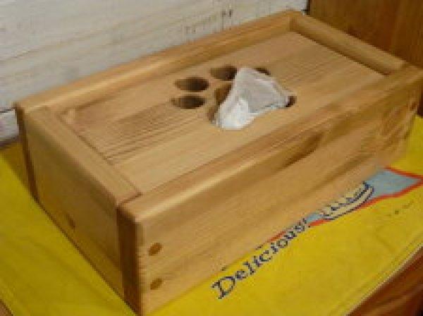 画像1: カントリー家具 肉球ティッシュボックス (1)