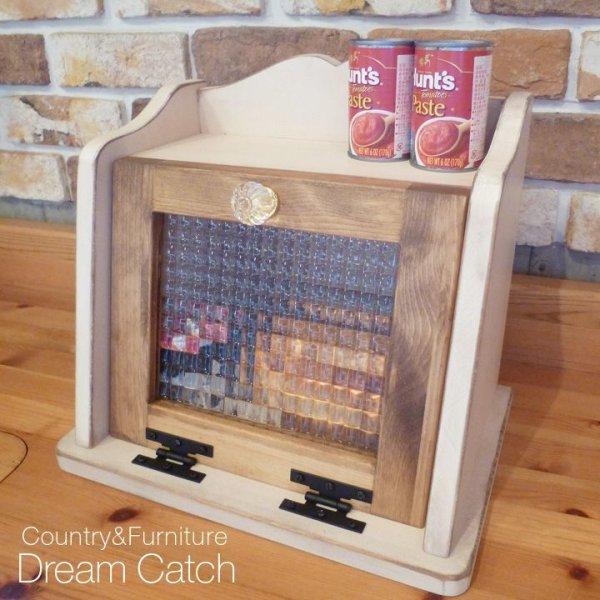 画像1: カントリー家具 アンティーク風ブレッドBOXチェッカーガラスS (1)