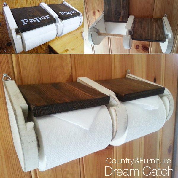 画像1: カントリー家具 ラスティックトイレットホルダーW (1)