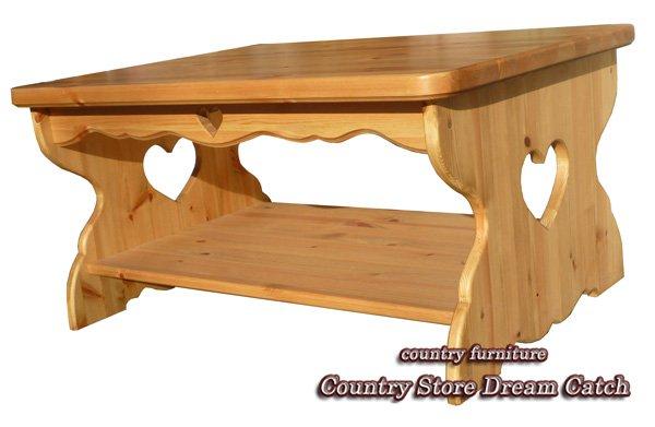 画像1: カントリー家具 ハートのローテーブルW1000 (1)