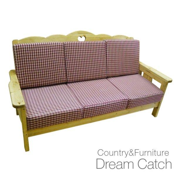 画像1: カントリー家具 ハートのベンチソファー3P (1)