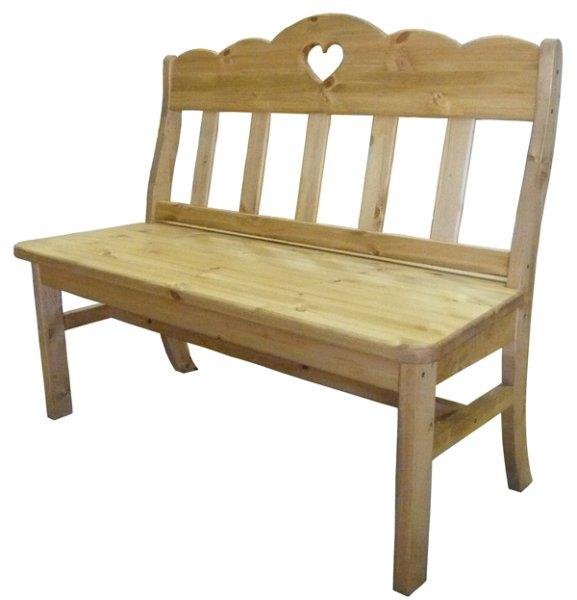 画像1: カントリー家具 ハートのベンチチェアー (1)
