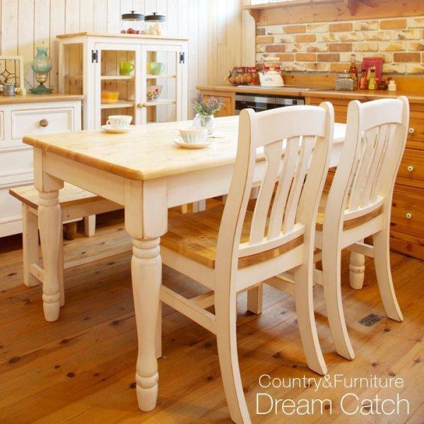 画像1: カントリー家具 ラスティックダイニングテーブル4点セットW1350TWO (1)