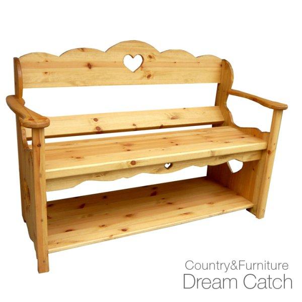 画像1: カントリー家具 ハートのワイドベンチ (1)