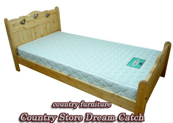 画像1: カントリー家具 ハートのシングルベッド (1)